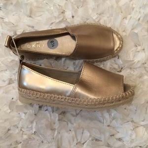 Shoes - DKNY size 6.5 gold open toe espadrilles